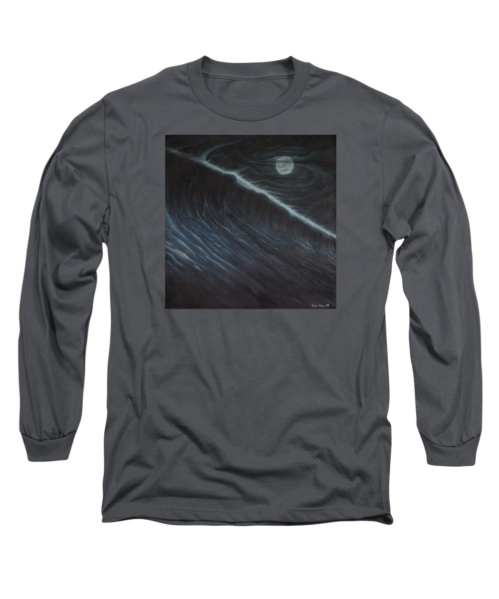 Seascapes Long Sleeve T-Shirt featuring the painting Tsunami by Angel Ortiz