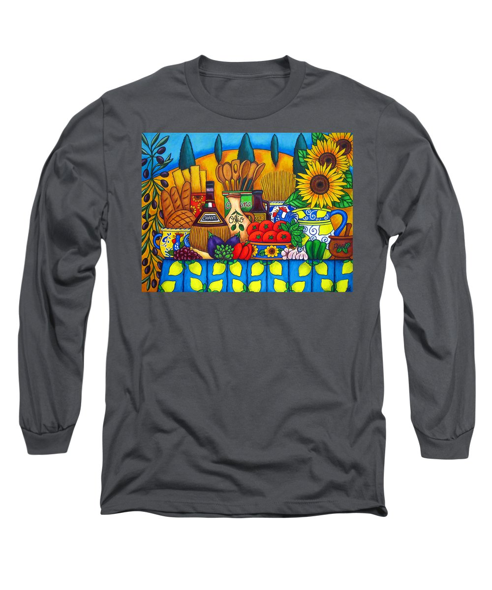 Still Life Long Sleeve T-Shirt featuring the painting Tuscany Delights by Lisa Lorenz