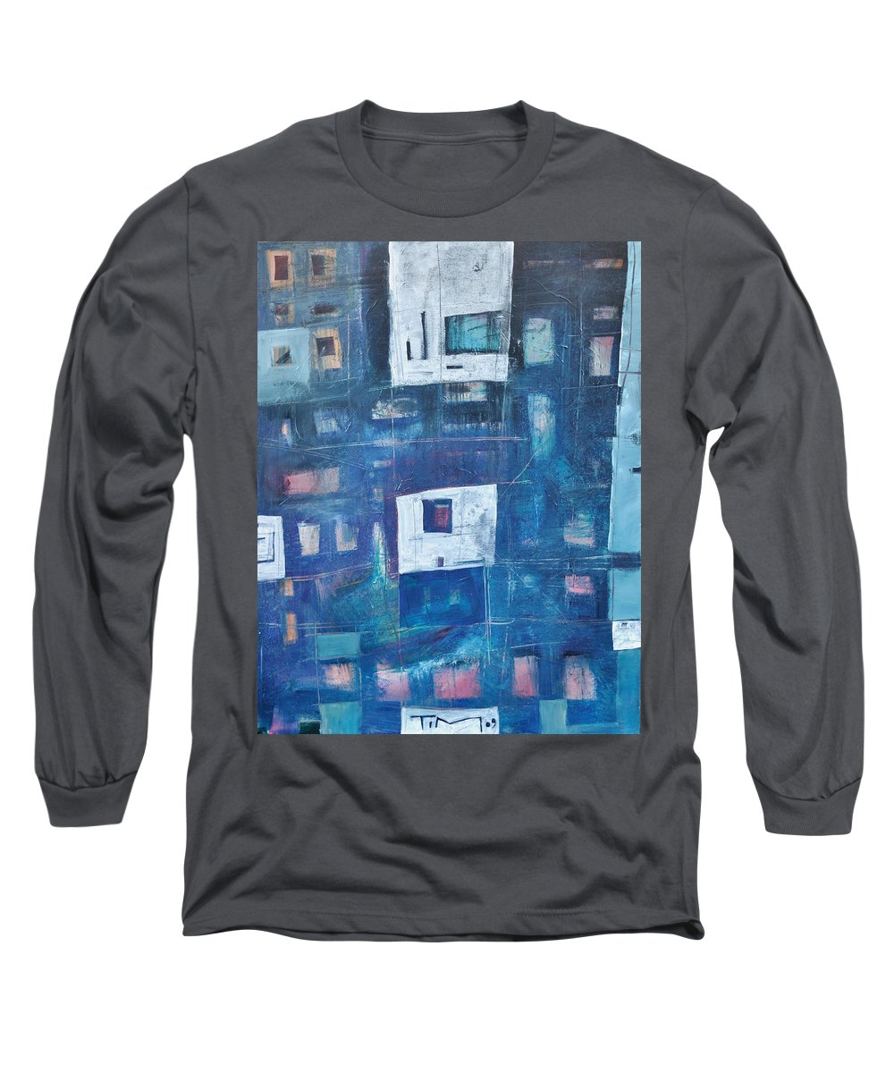 Abstract Long Sleeve T-Shirt featuring the painting Twilight Highrise by Tim Nyberg