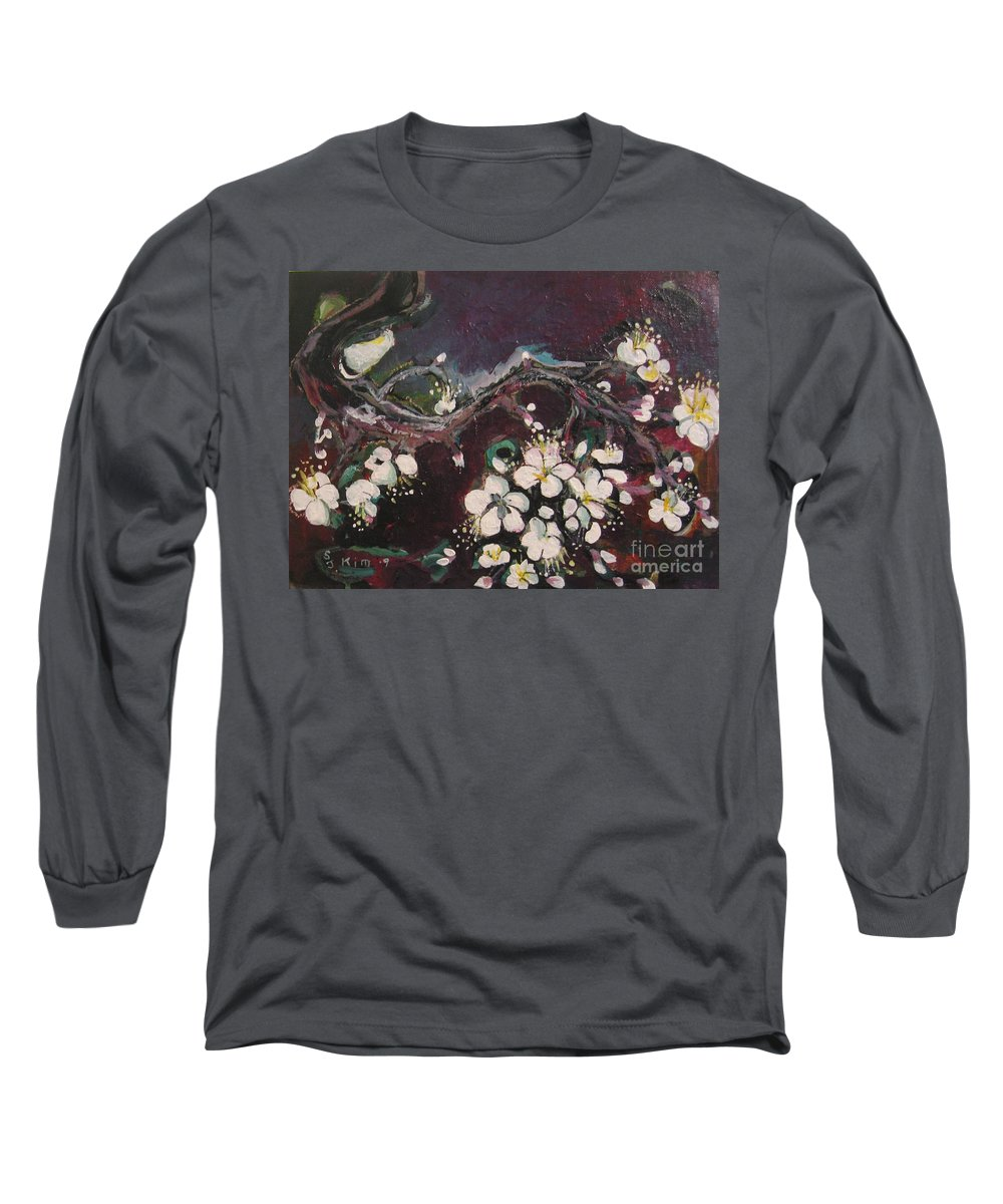 Ume Blossoms Paintings Long Sleeve T-Shirt featuring the painting Ume Blossoms by Seon-Jeong Kim
