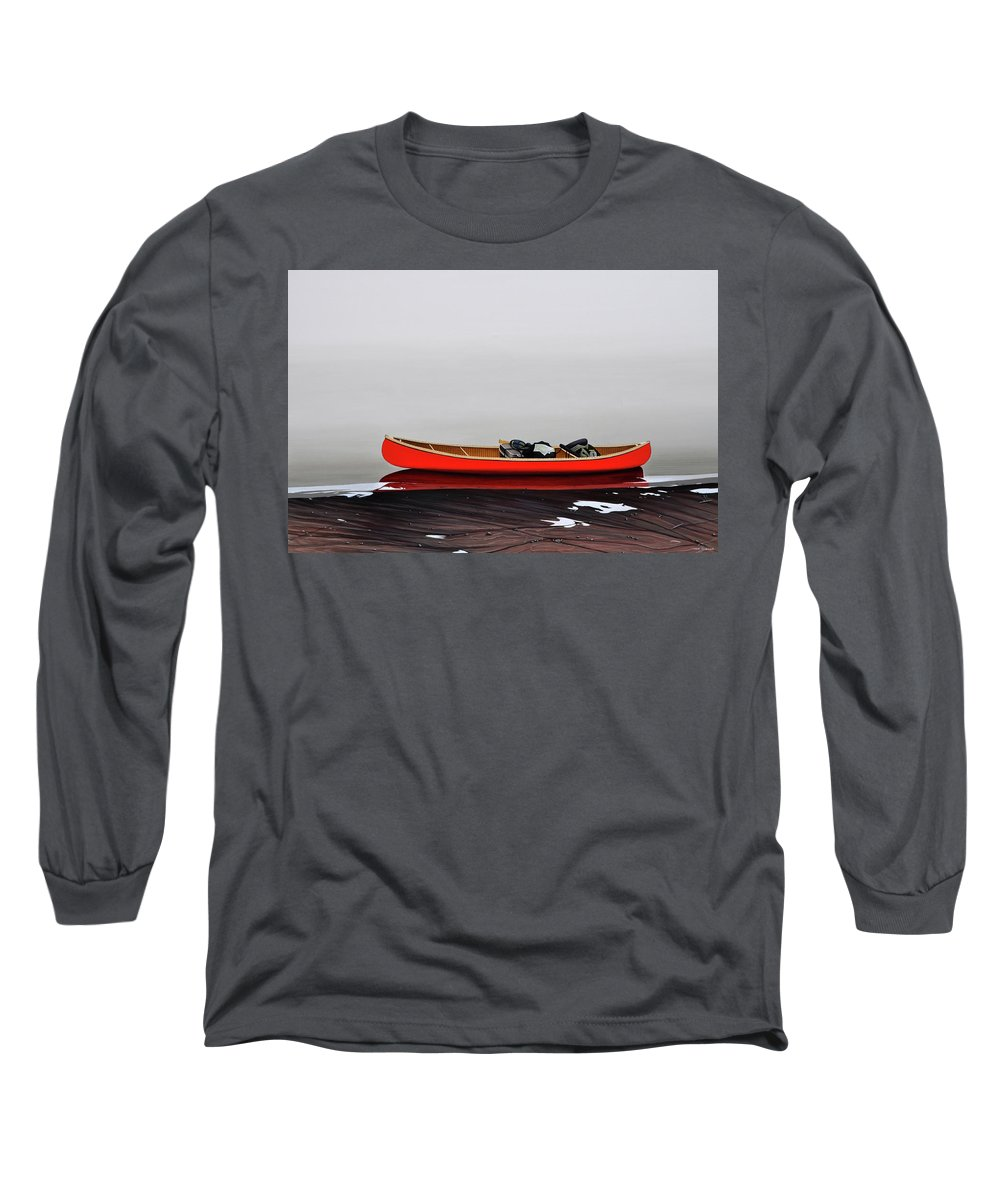 Landscape Paintings Long Sleeve T-Shirt featuring the painting Until The Fog Lifts by Kenneth M Kirsch