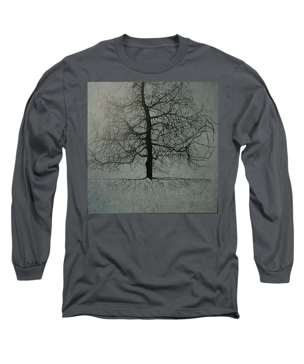 Silhouette Long Sleeve T-Shirt featuring the painting Untitled Blue by Leah Tomaino