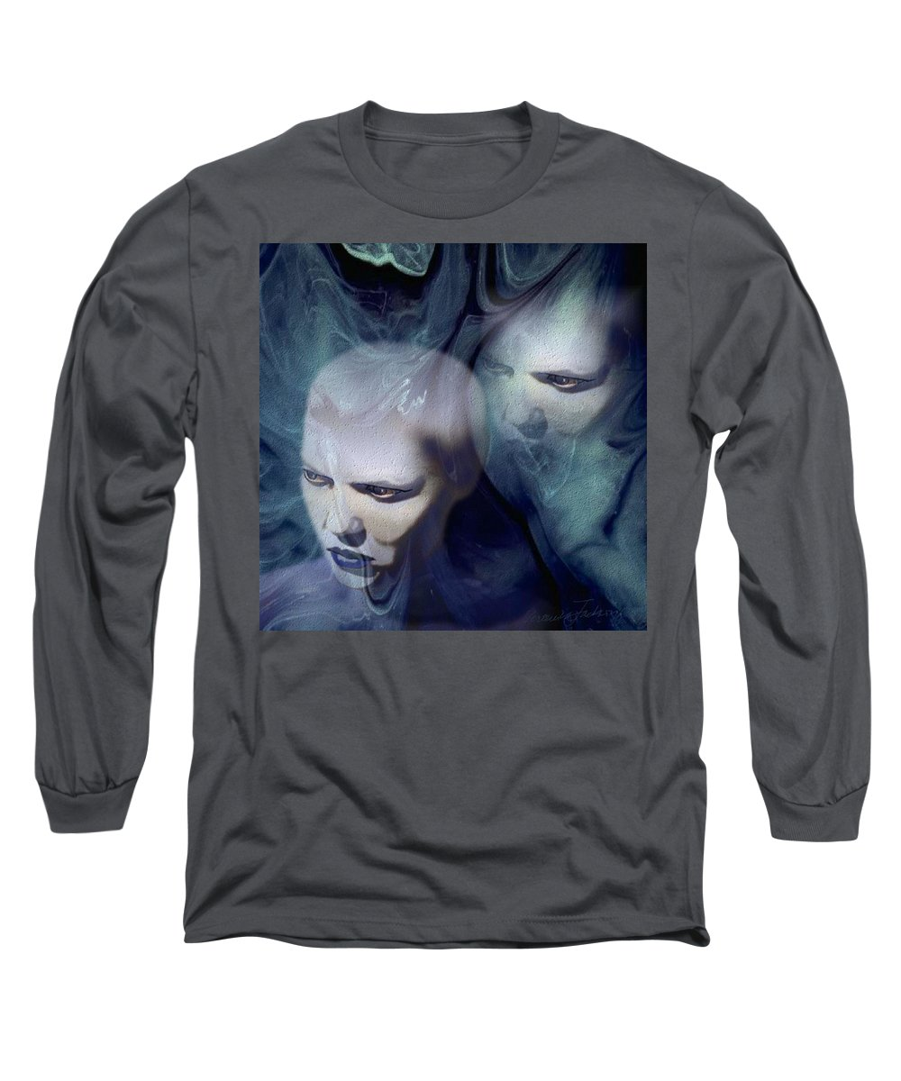 Dream Afterlife Experience Blue Smoke Long Sleeve T-Shirt featuring the digital art Untitled by Veronica Jackson