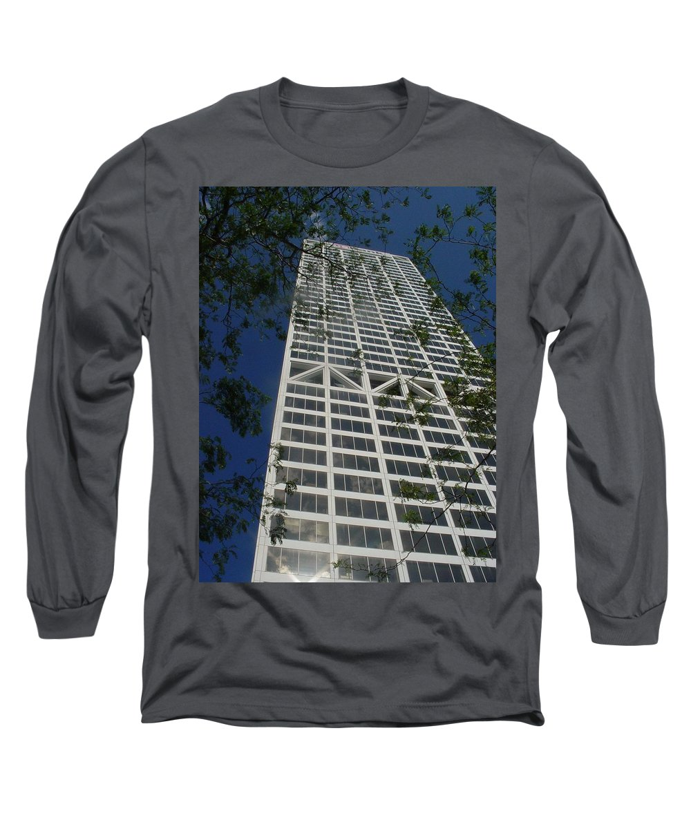 Us Bank Long Sleeve T-Shirt featuring the photograph Us Bank With Trees by Anita Burgermeister