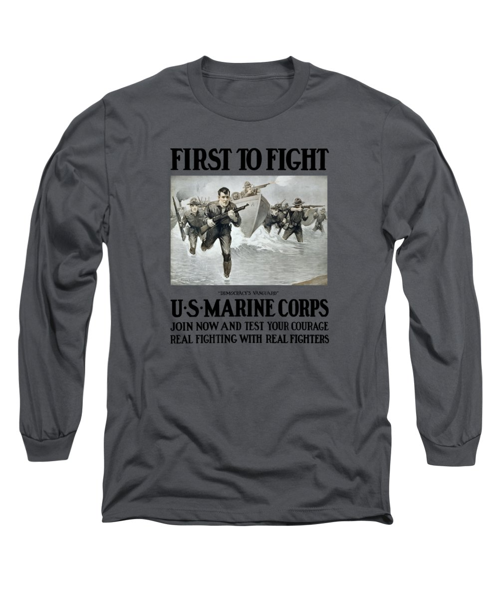 Marines Long Sleeve T-Shirt featuring the painting Us Marine Corps - First To Fight by War Is Hell Store