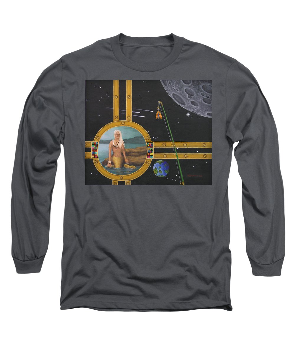 Fantasy Long Sleeve T-Shirt featuring the painting Vacation Fishing For Mermaids by Roz Eve