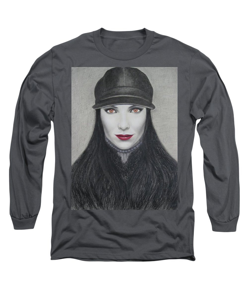 Vampire Long Sleeve T-Shirt featuring the painting Vampire by Lynet McDonald
