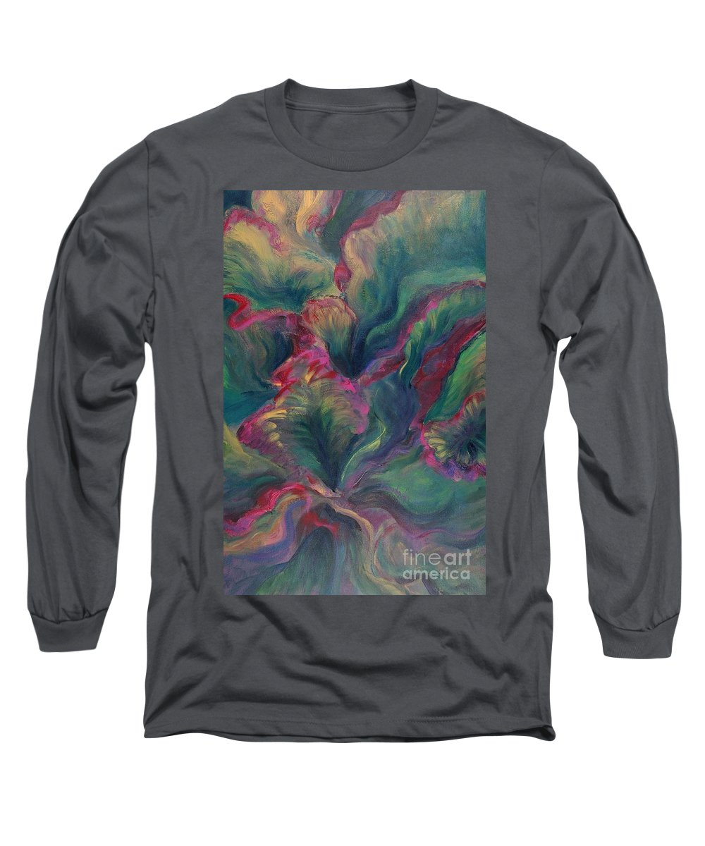 Leaves Long Sleeve T-Shirt featuring the painting Vibrant Leaves by Nadine Rippelmeyer