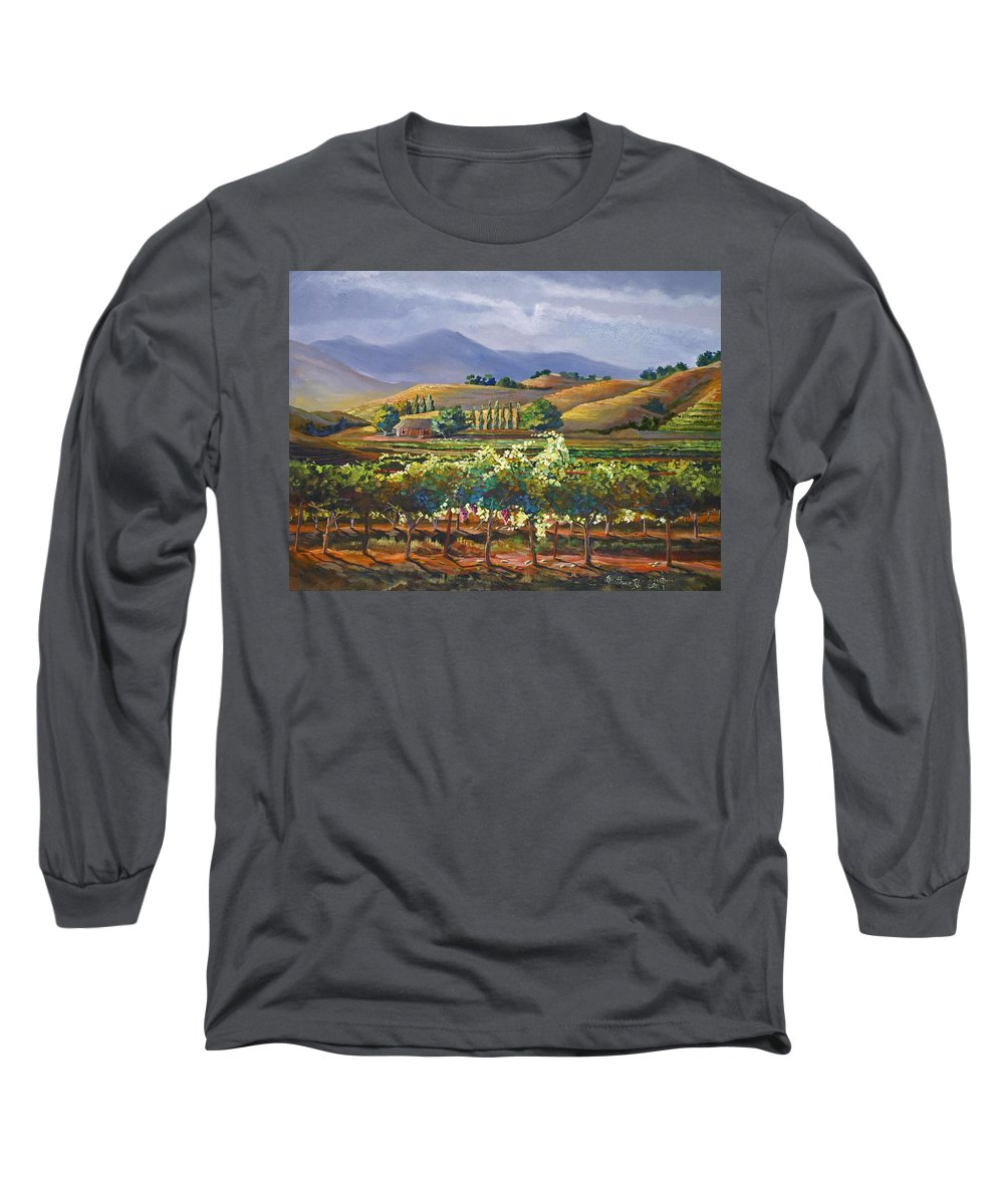 Vineyard Long Sleeve T-Shirt featuring the painting Vineyard In California by Heather Coen