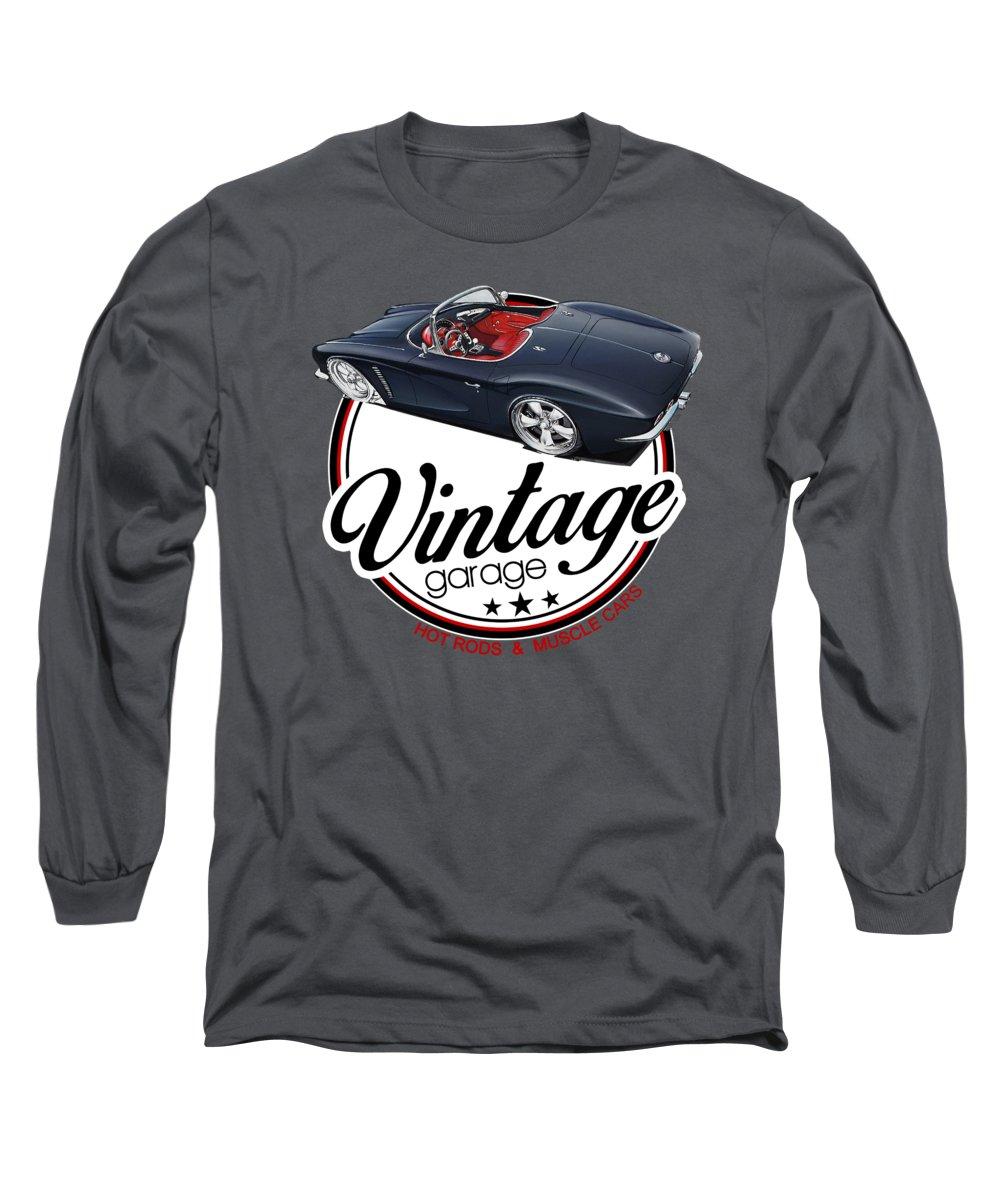 Restomod Long Sleeve T-Shirt featuring the digital art Vintage Garage Restomod by Paul Kuras