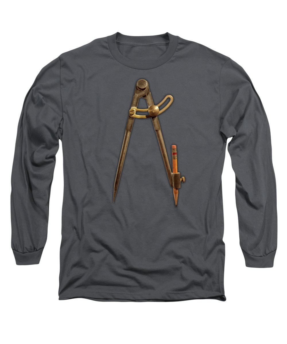 Compass Long Sleeve T-Shirt featuring the photograph Vintage Iron Compass Floating Over White by YoPedro