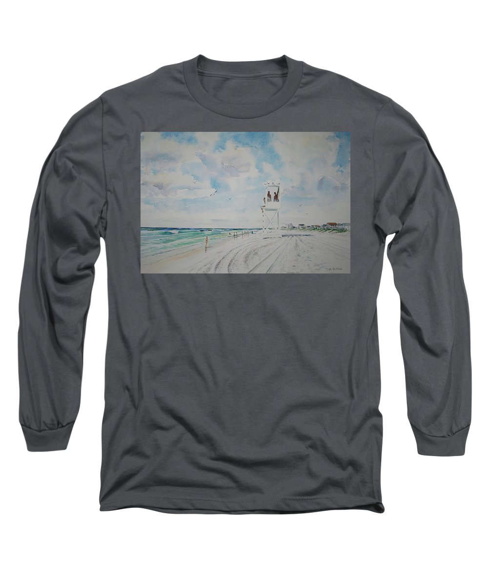 Ocean Long Sleeve T-Shirt featuring the painting Waiting For The Lifeguard by Tom Harris