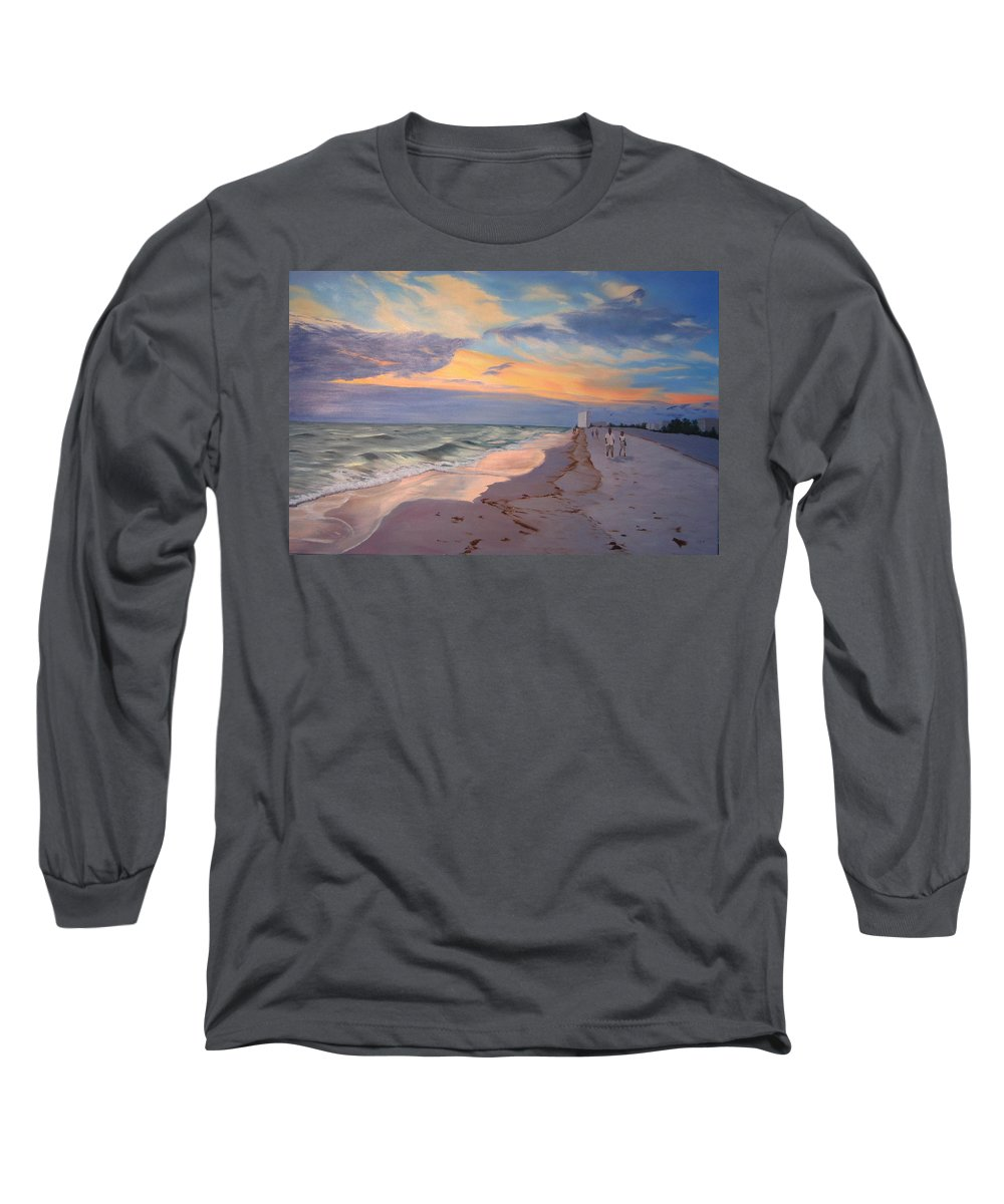 Seascape Long Sleeve T-Shirt featuring the painting Walking On The Beach At Sunset by Lea Novak