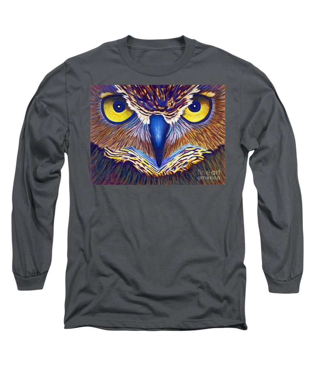 Owl Long Sleeve T-Shirt featuring the painting Watching by Brian Commerford