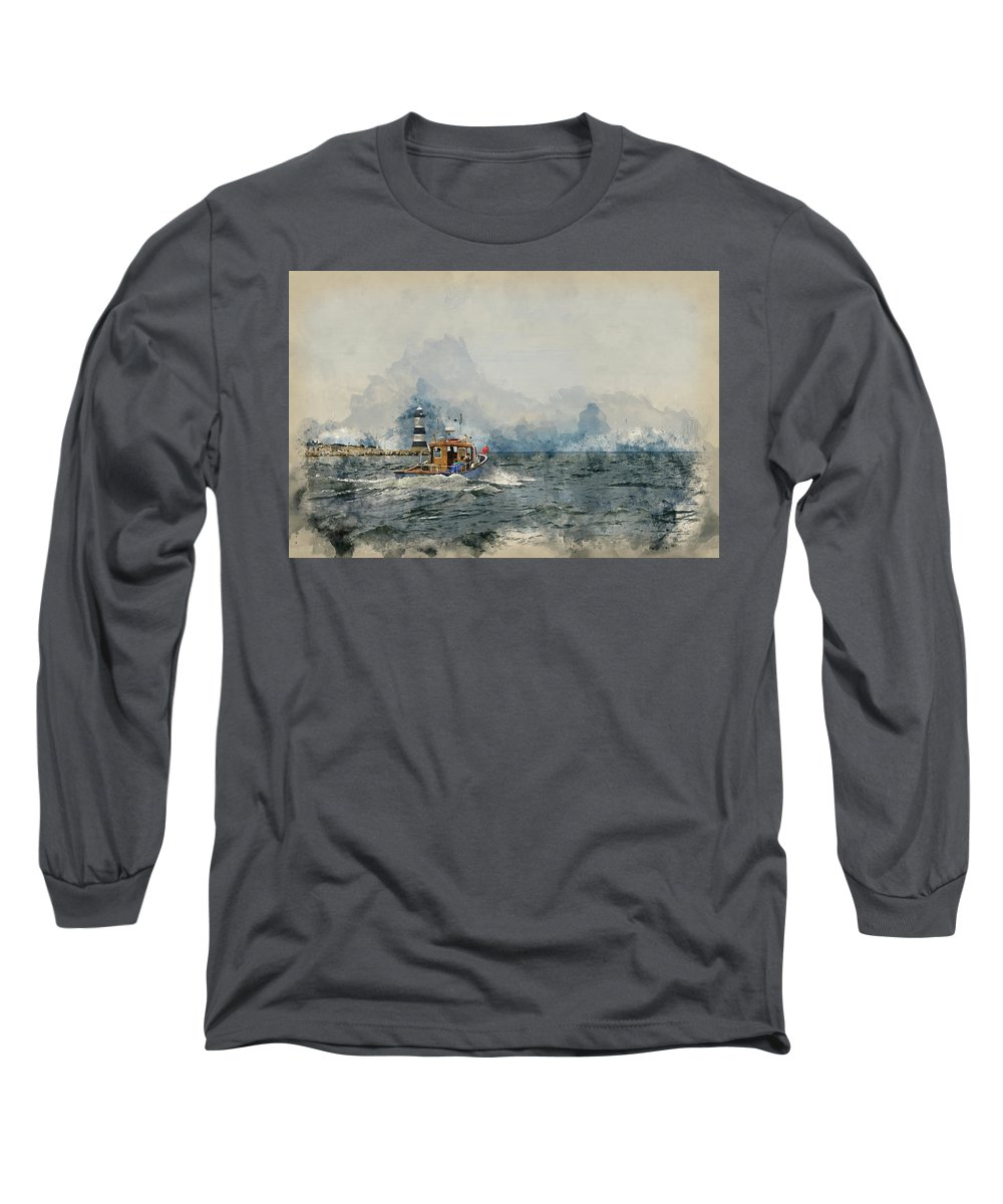 Landscape; Sea; Ocean; Menai Straits; Sailing; Leisure; Pleasure; Yacht; Powerboat; Cruise; Recreation; Tourism; Sky; Clouds; Spring; Season; Sailing; Sail; Watercolour; Watercolor; Painting; Art; Artistic; Medium; Paper; Texture; Effect; Filter Long Sleeve T-Shirt featuring the photograph Watercolor Painting Of Pleasure Cruise Boat On Menai Straits In Anglesey Wales. by Matthew Gibson