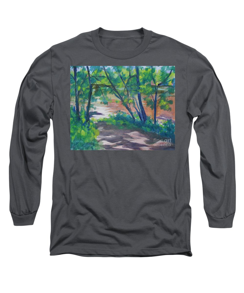 Landscape Long Sleeve T-Shirt featuring the painting Watercress Beach On The Current River  by Jan Bennicoff