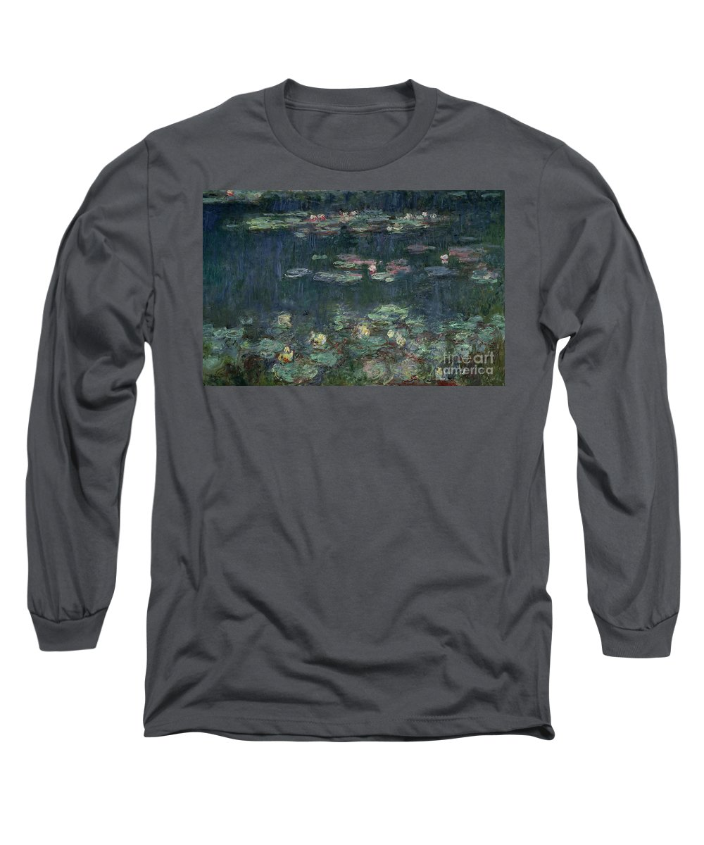 Monet Long Sleeve T-Shirt featuring the painting Waterlilies Green Reflections by Claude Monet