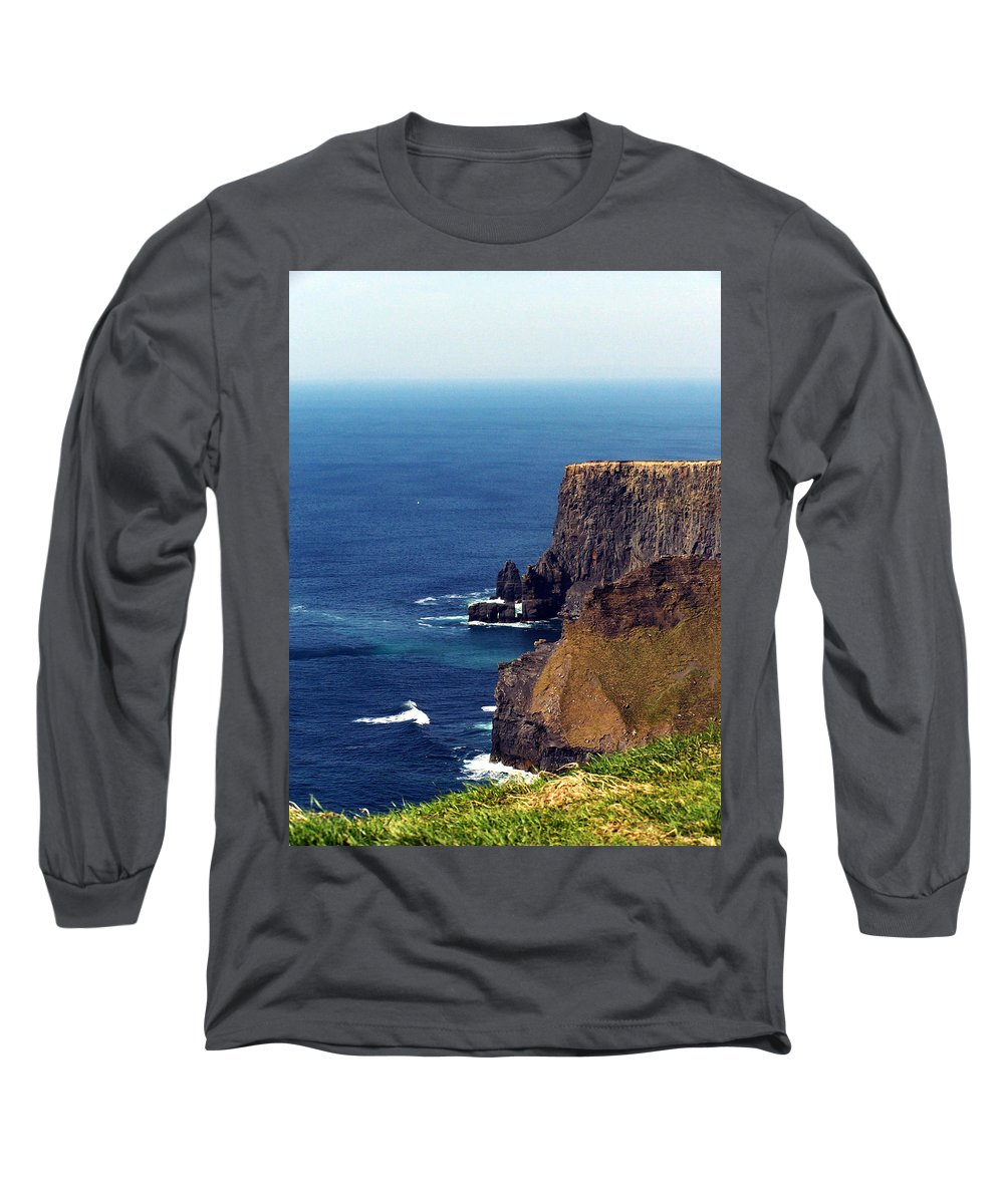 Irish Long Sleeve T-Shirt featuring the photograph Waves Crashing At Cliffs Of Moher Ireland by Teresa Mucha