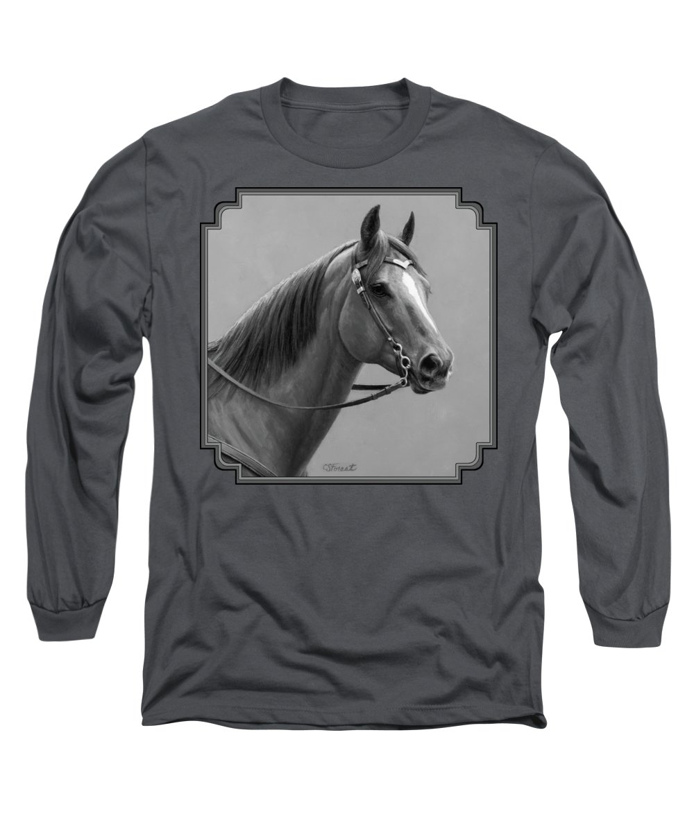 Horse Long Sleeve T-Shirt featuring the painting Western Quarter Horse Black And White by Crista Forest