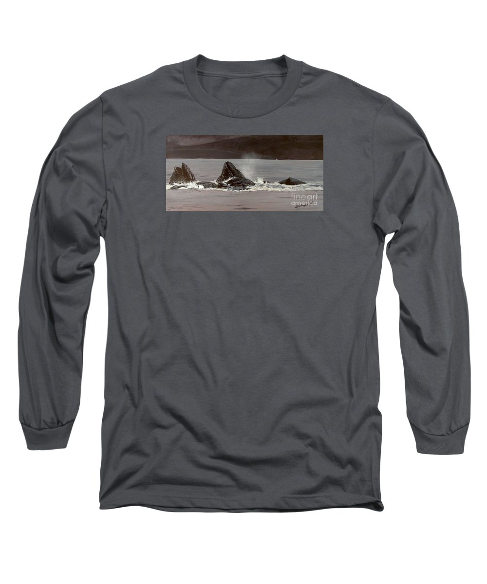 Whale Long Sleeve T-Shirt featuring the painting Whales Feeding by Shawn Stallings