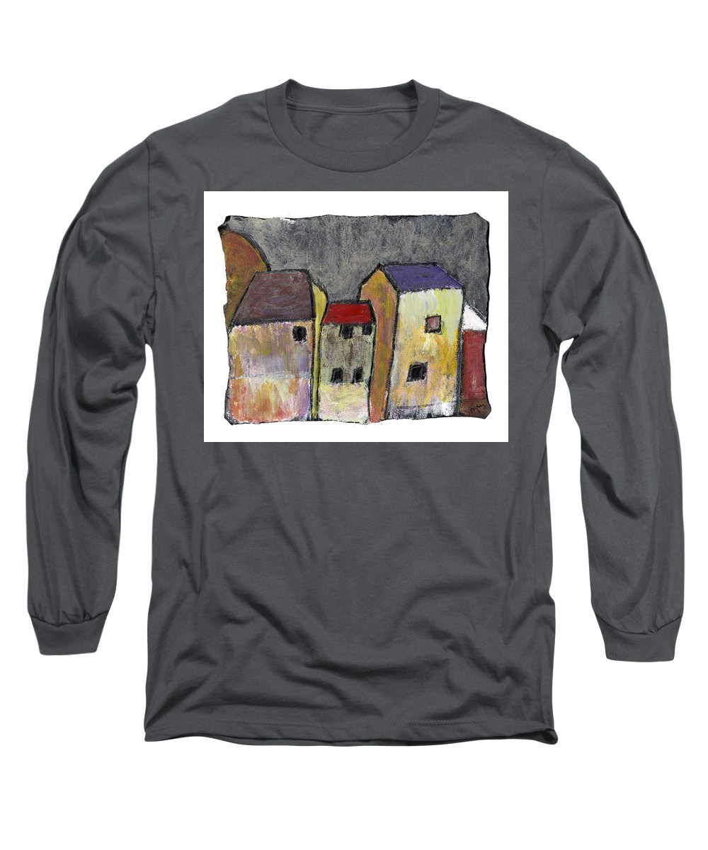 Buildings Long Sleeve T-Shirt featuring the painting Where Once There Was by Wayne Potrafka