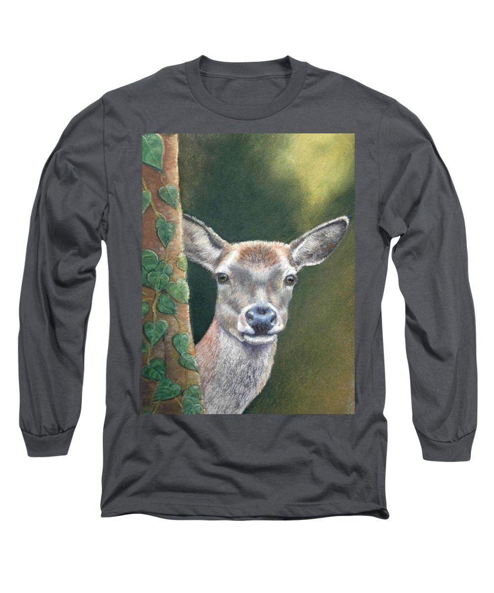 Rainforest Long Sleeve T-Shirt featuring the painting White Tail Doe At Ancon Hill by Ceci Watson