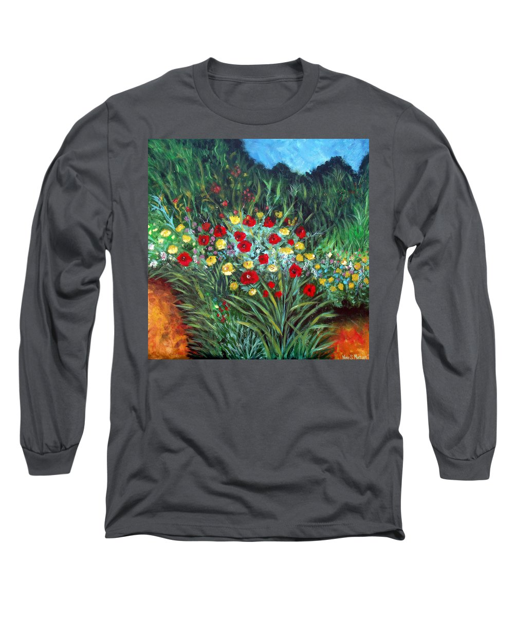 Abstract Long Sleeve T-Shirt featuring the painting Wildflower Garden 1 by Nancy Mueller