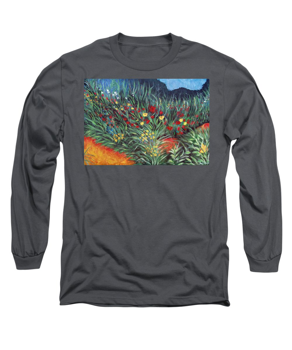 Landscape Long Sleeve T-Shirt featuring the painting Wildflower Garden 2 by Nancy Mueller