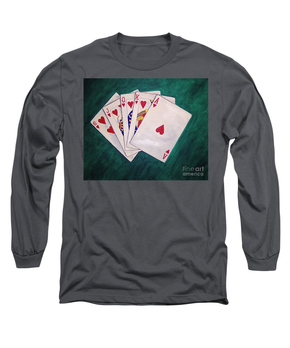 Playing Cards Wining Hand Role Flush Long Sleeve T-Shirt featuring the painting Wining Hand 2 by Herschel Fall