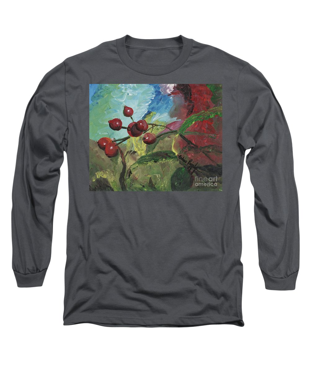 Berries Long Sleeve T-Shirt featuring the painting Winter Berries by Nadine Rippelmeyer