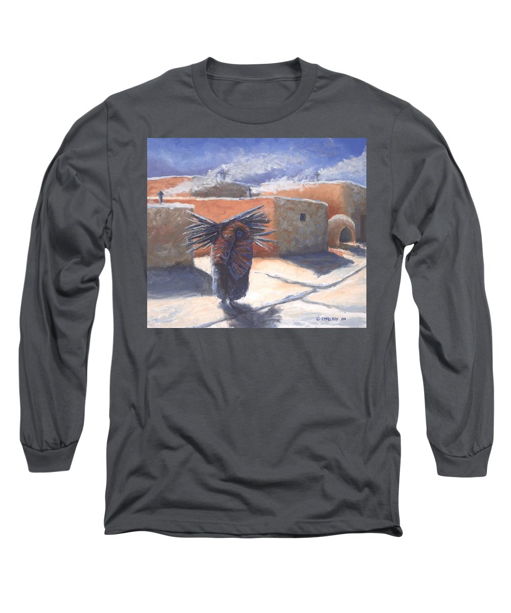 Adobe Long Sleeve T-Shirt featuring the painting Winter's Work by Jerry McElroy