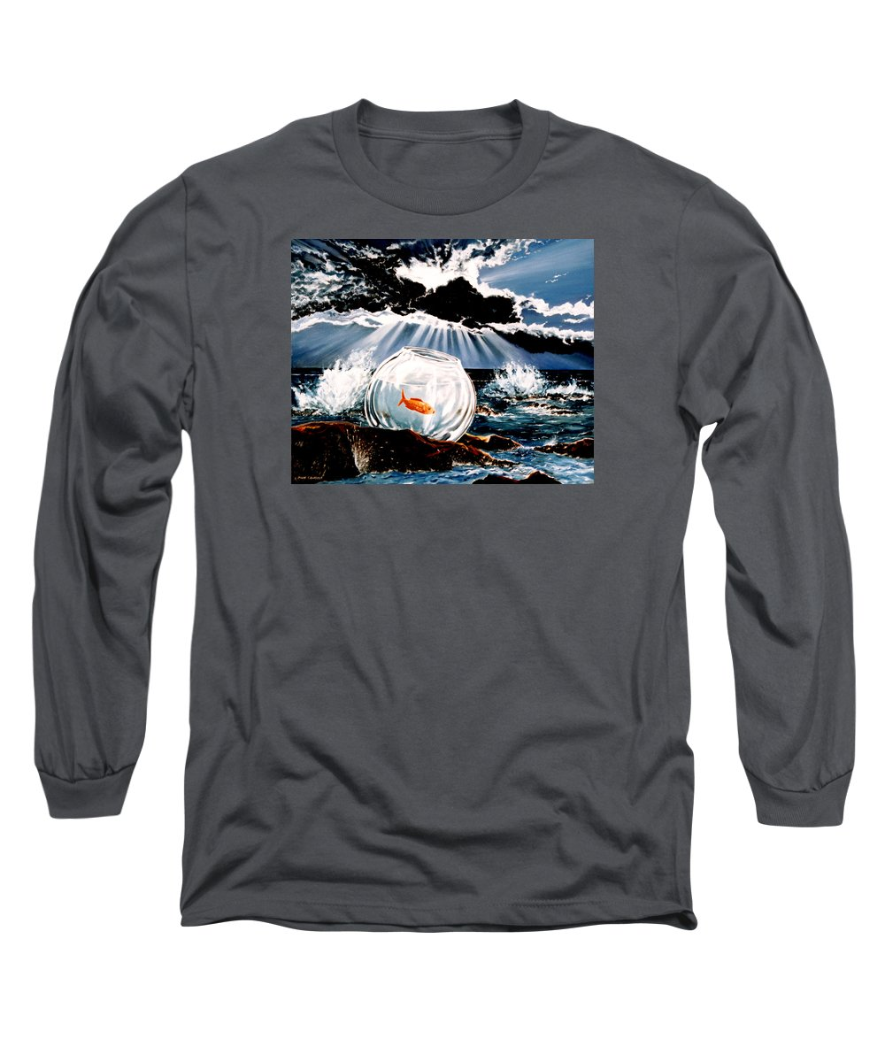 Surreal Long Sleeve T-Shirt featuring the painting Wish You Were Here by Mark Cawood