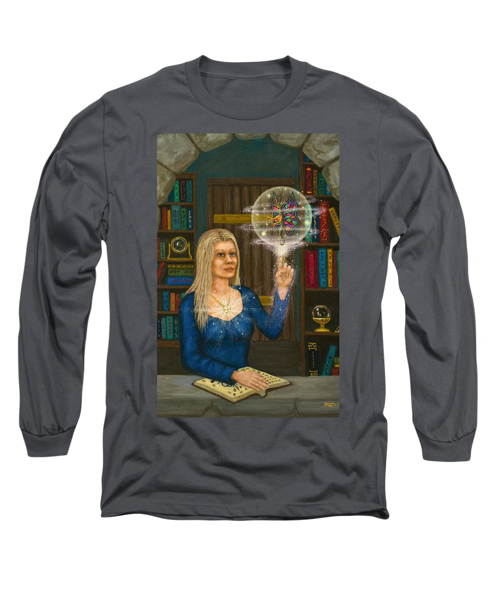 Magic Long Sleeve T-Shirt featuring the digital art Wizards Library by Roz Eve