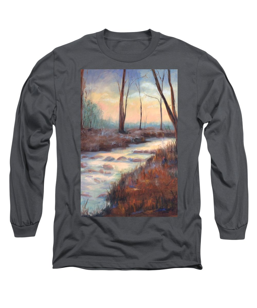 Creeks Long Sleeve T-Shirt featuring the painting Wolf Creek by Ginger Concepcion