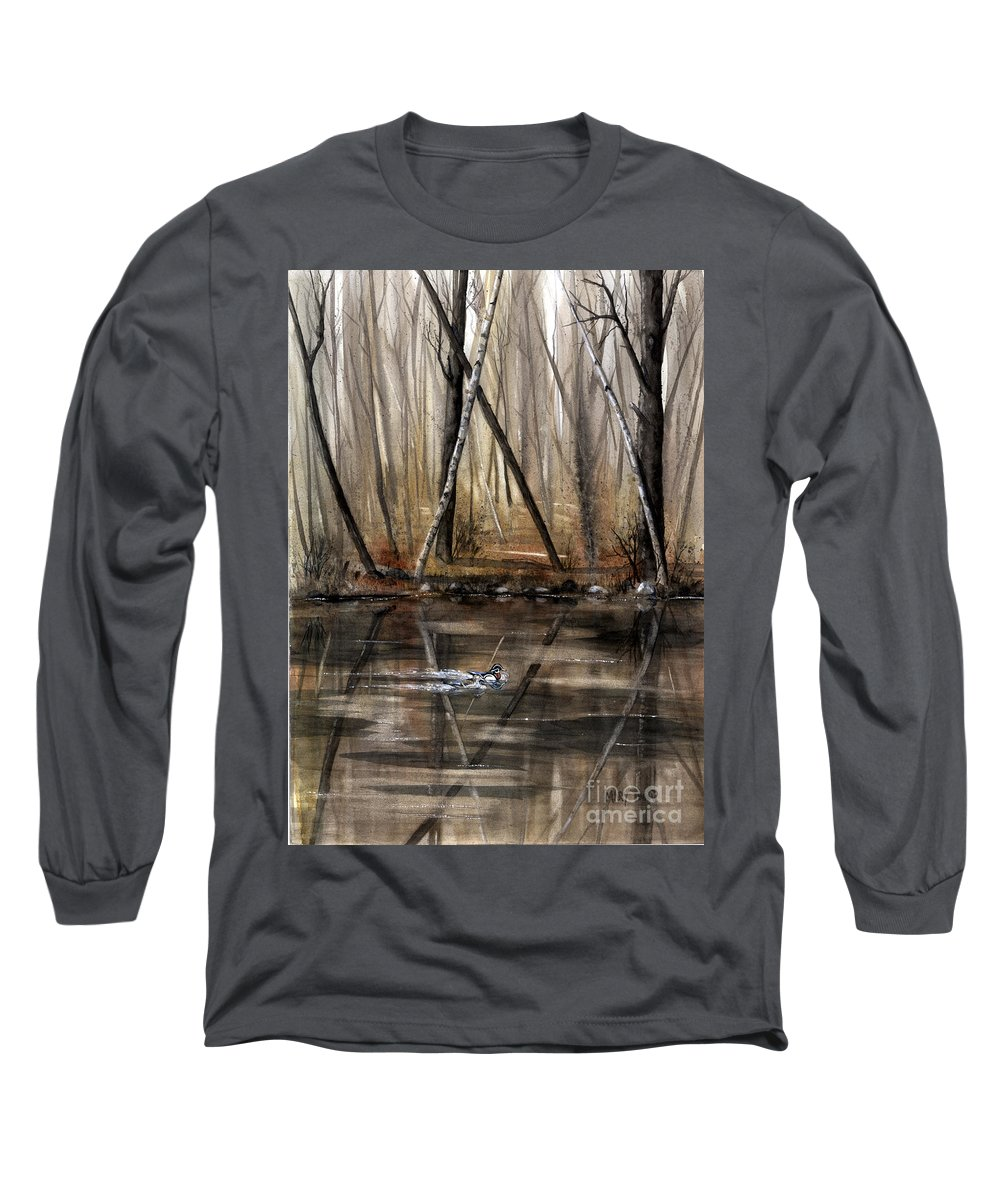 Nature Long Sleeve T-Shirt featuring the painting Wood Duck On Pond by Mary Tuomi