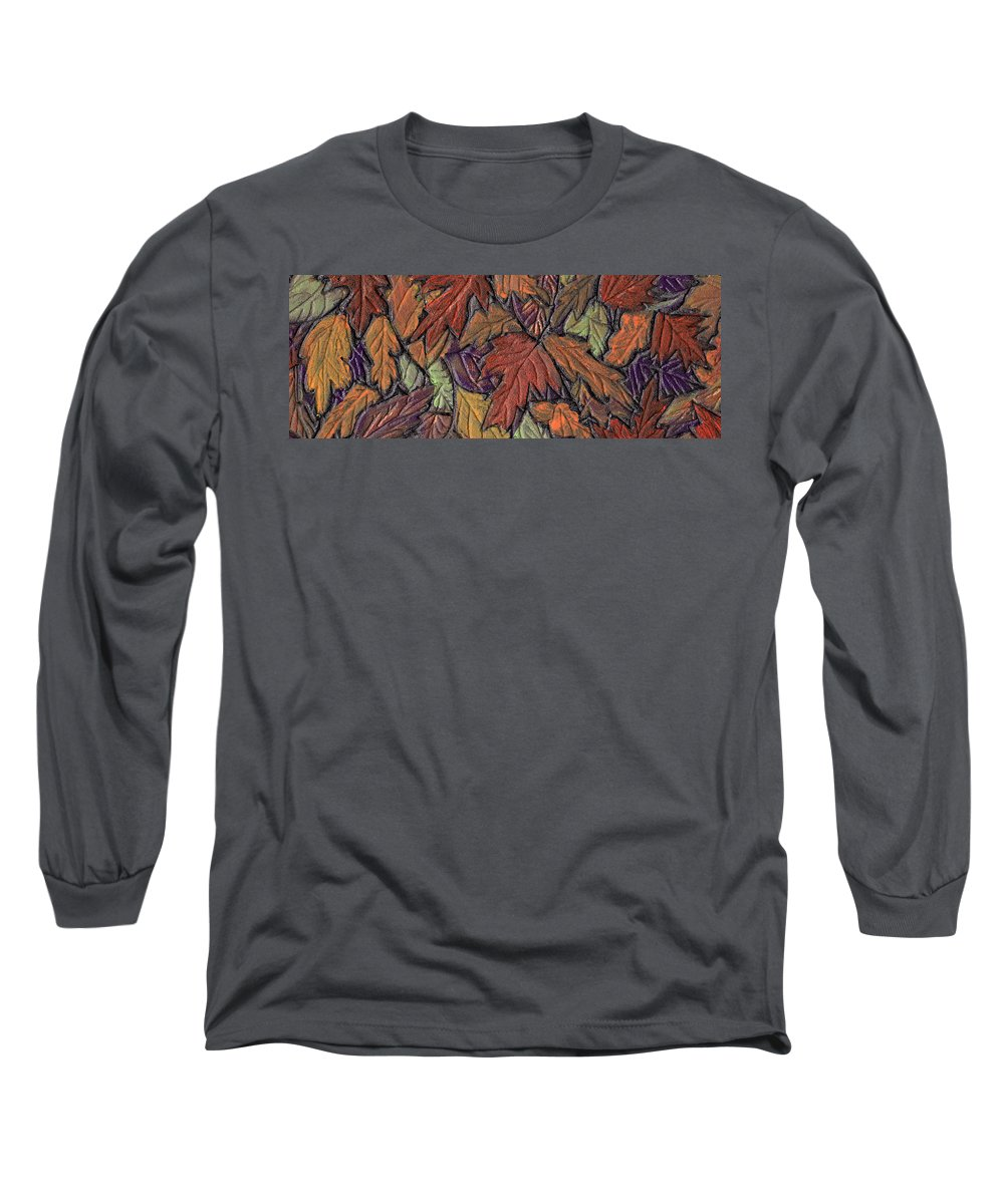 Autumn Long Sleeve T-Shirt featuring the painting Woodland Carpet by Wayne Potrafka