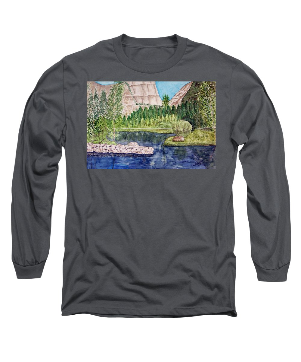 Yosemite National Park Long Sleeve T-Shirt featuring the painting Yosemite by Larry Wright