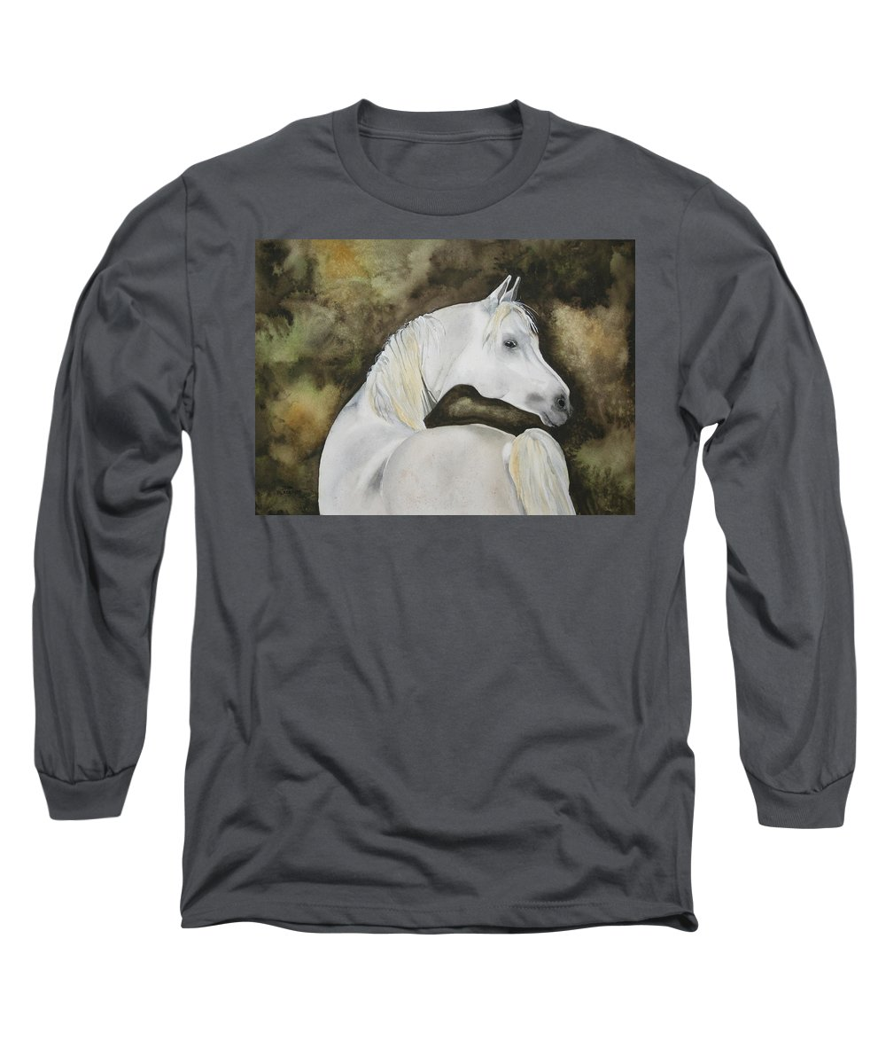 Horse Long Sleeve T-Shirt featuring the painting You Talking To Me by Jean Blackmer