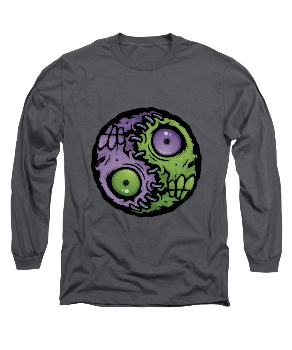 Zombie Long Sleeve T-Shirt featuring the digital art Zombie Yin-Yang by John Schwegel