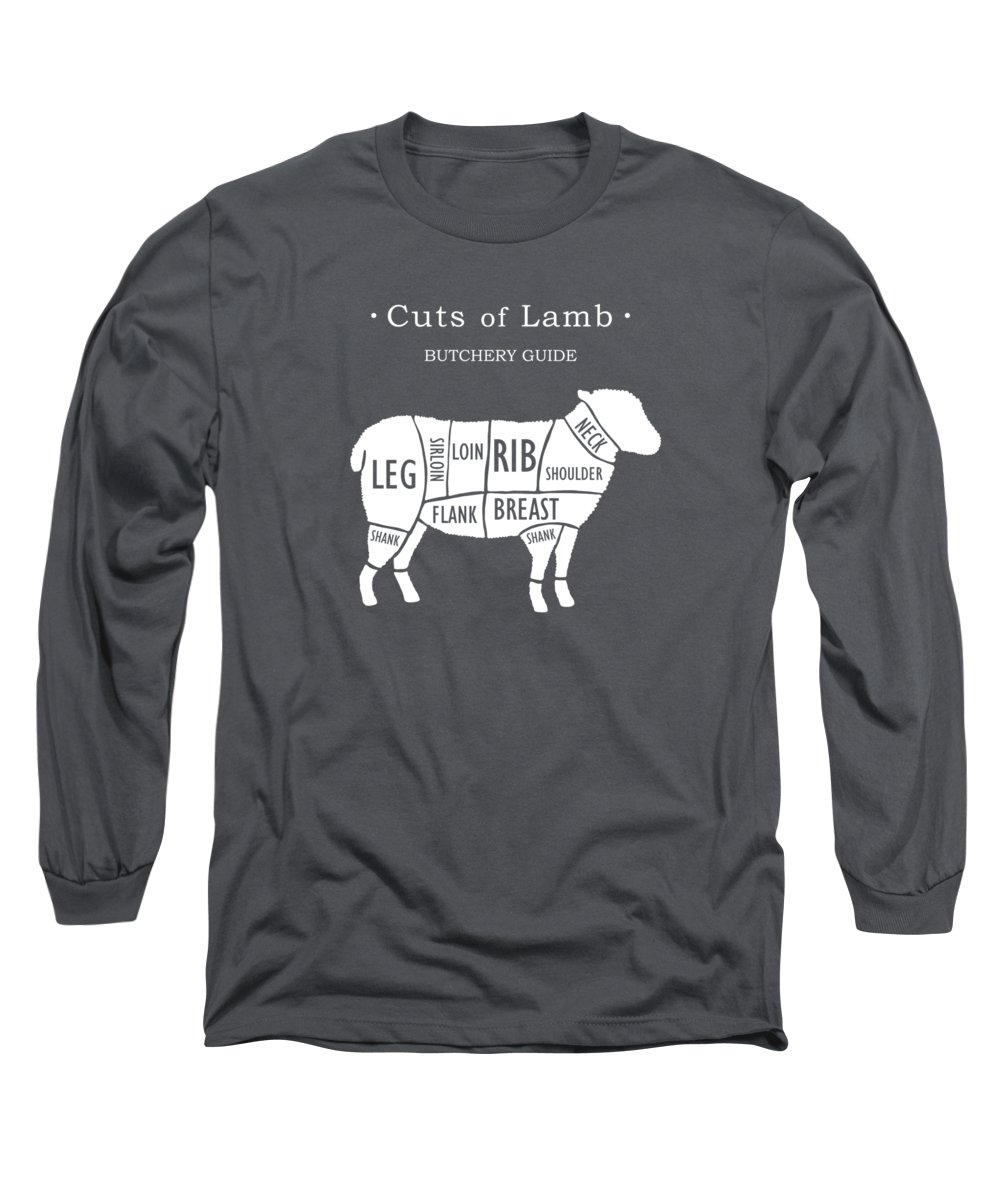 Kitchen Art Long Sleeve T-Shirt featuring the photograph Butchery Guide Cuts Of Lamb by Mark Rogan