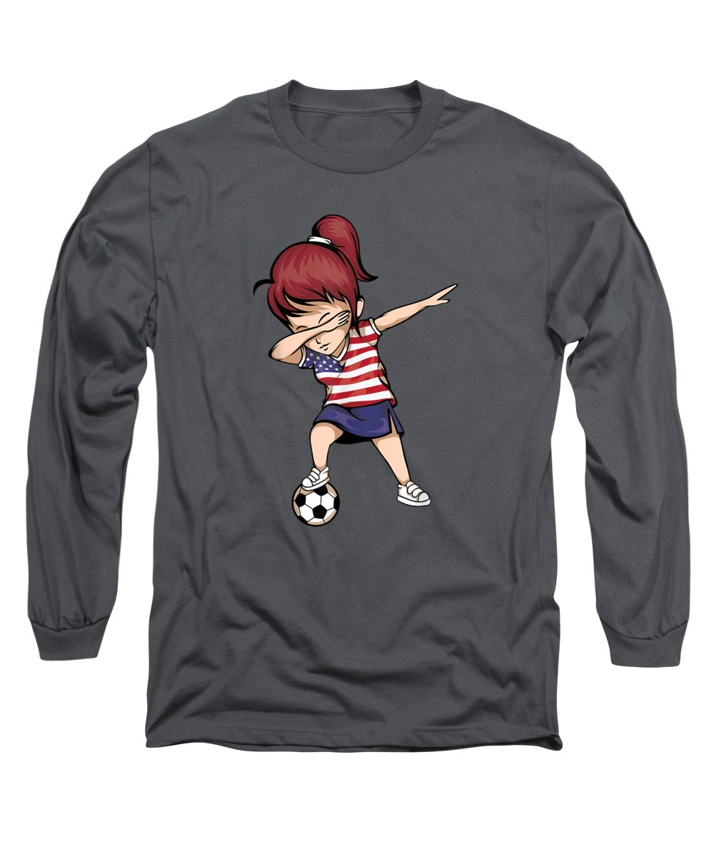women's Novelty T-shirts Long Sleeve T-Shirt featuring the digital art Dabbing Soccer Girl United States Jersey Shirt Usa Football by Unique Tees