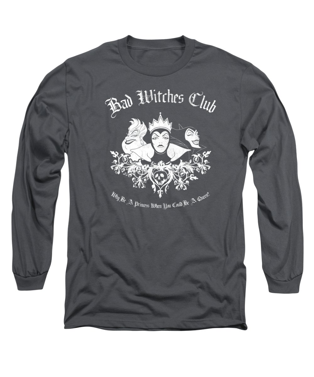 men's Novelty T-shirts Long Sleeve T-Shirt featuring the digital art Disney Villains Bad Witches Club Group Shot Premium T-shirt by Unique Tees