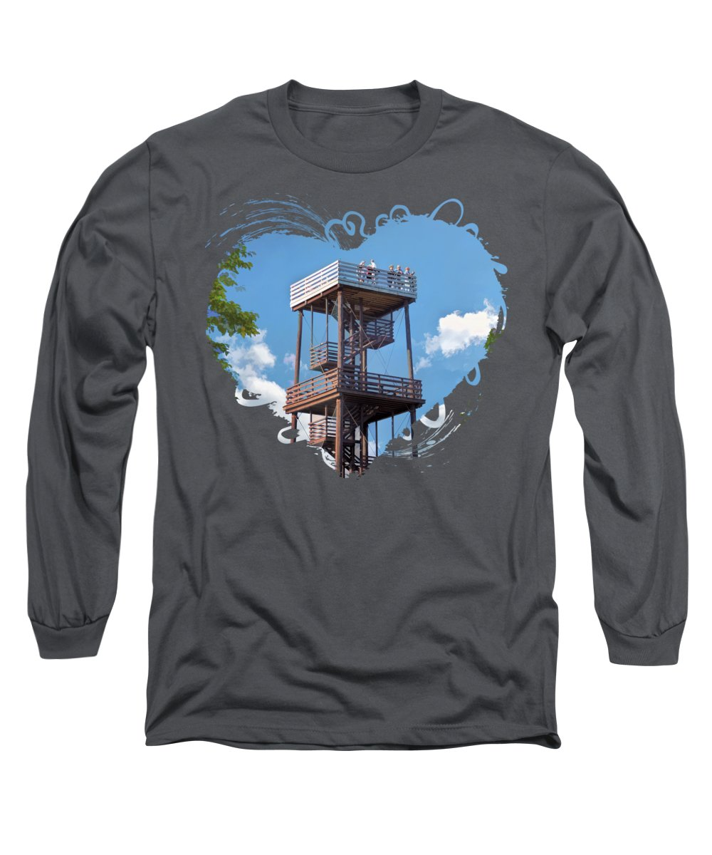 Door County Long Sleeve T-Shirt featuring the painting Door County Eagle Tower Peninsula State Park by Christopher Arndt