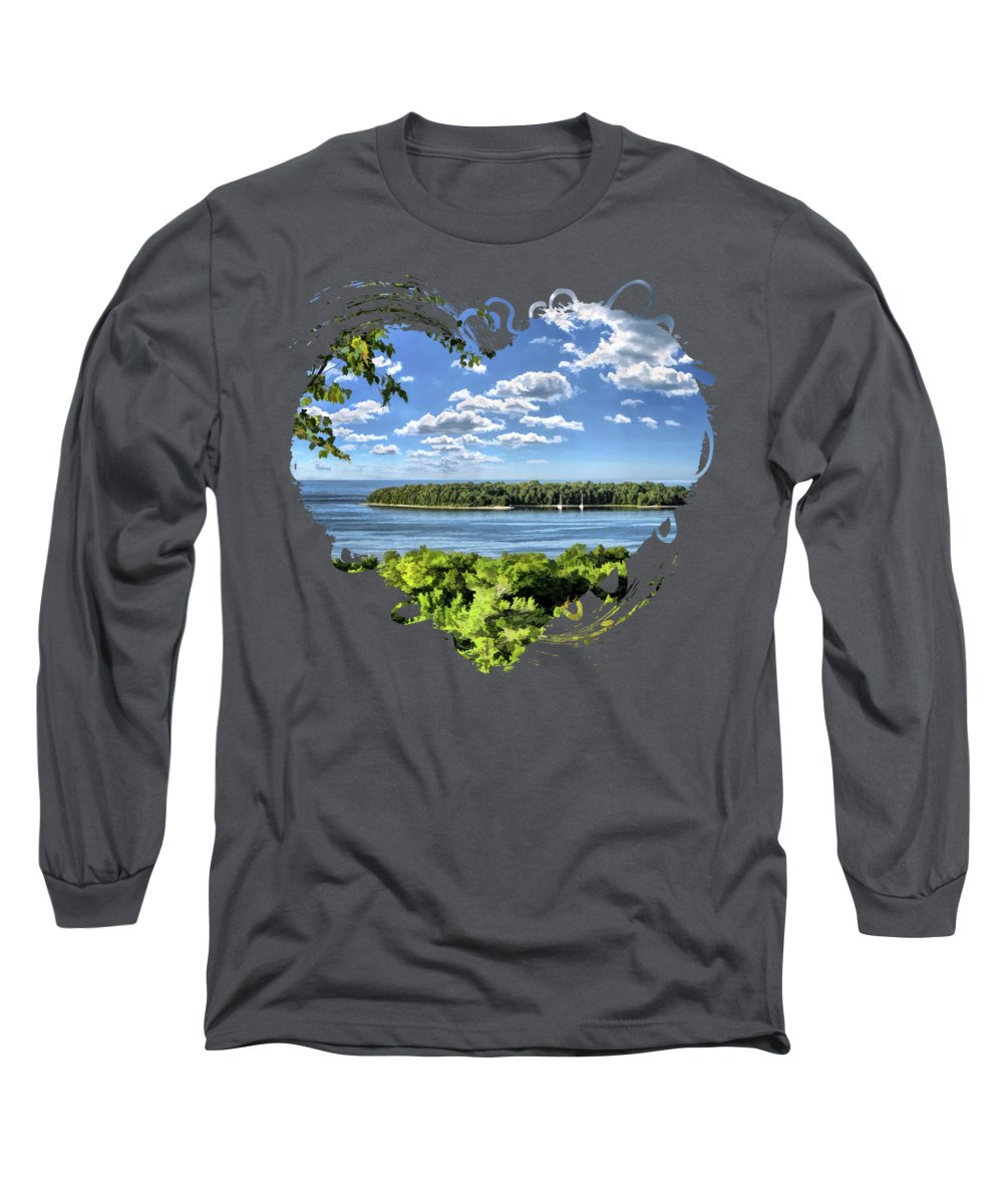 Door County Long Sleeve T-Shirt featuring the painting Door County Horseshoe Island by Christopher Arndt
