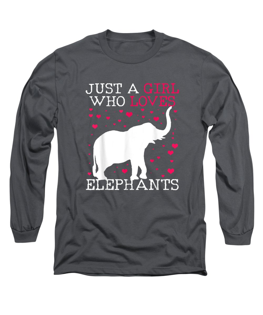 girls' Novelty Clothing Long Sleeve T-Shirt featuring the digital art Elephants T-shirt Elephant Tshirt Just A Girl Who Loves Tee by Unique Tees