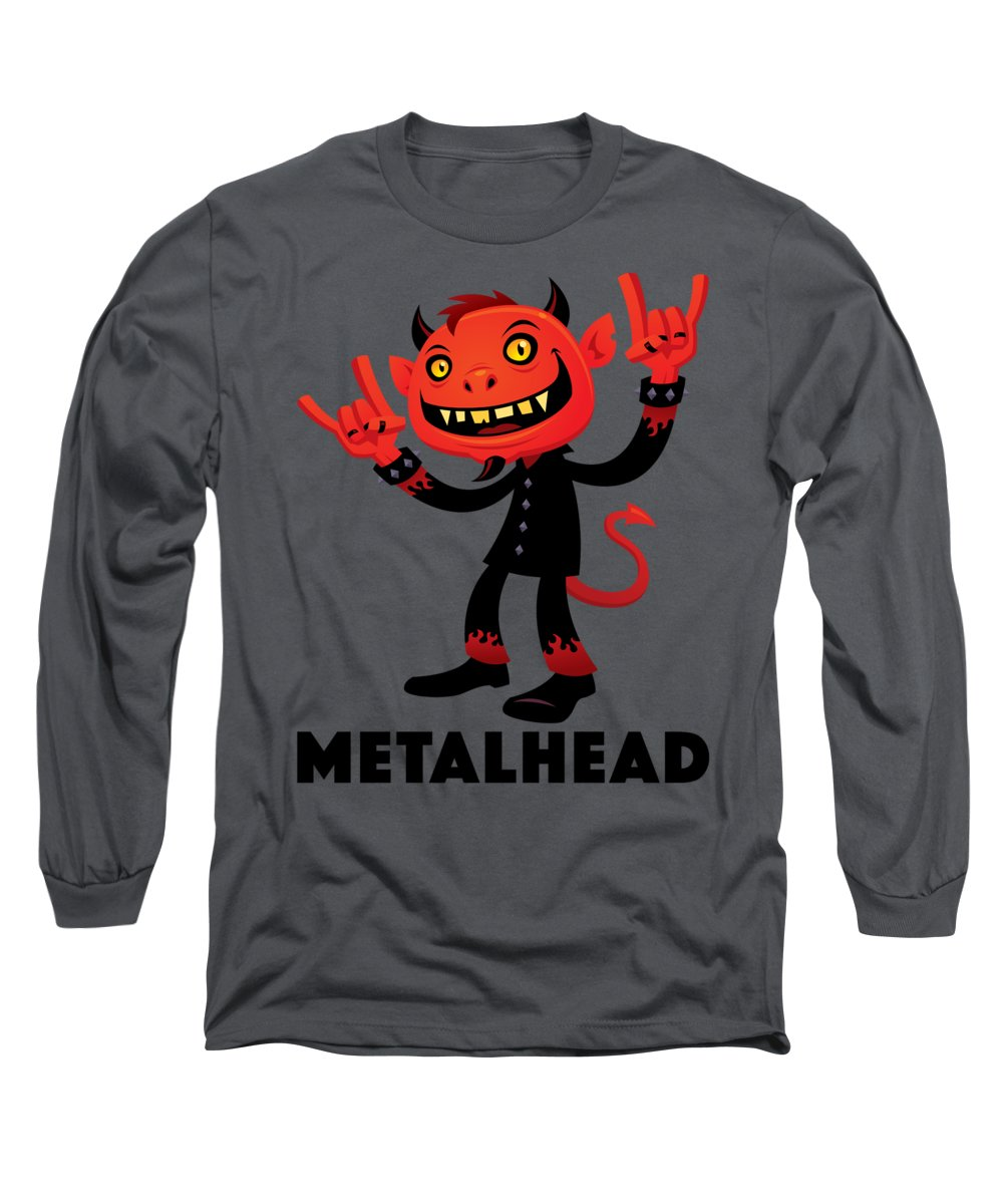 Band Long Sleeve T-Shirt featuring the digital art Heavy Metal Devil Metalhead by John Schwegel