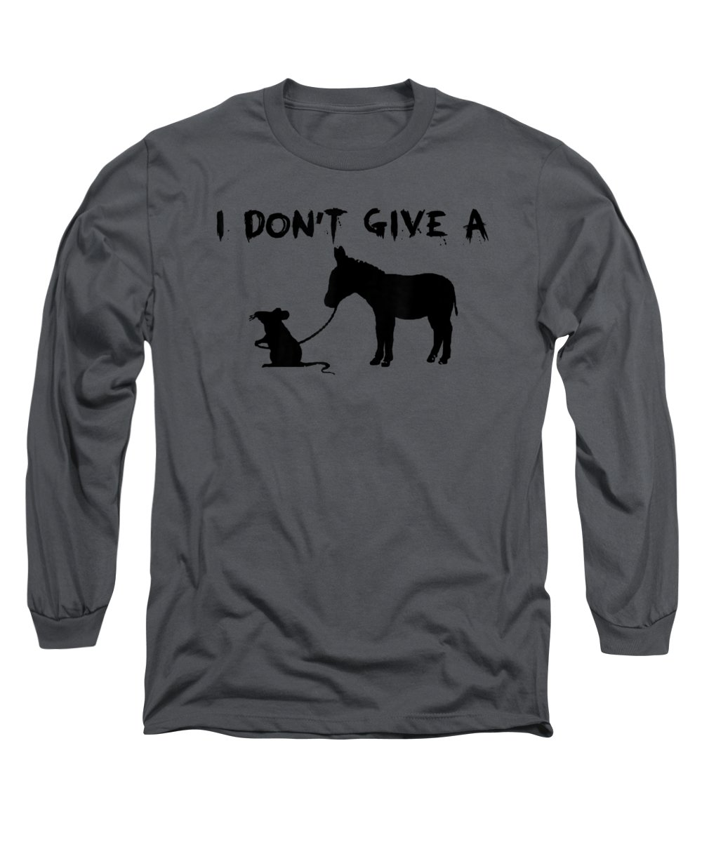 men's Novelty T-shirts Long Sleeve T-Shirt featuring the digital art I Don't Give A Rats Ass Mouse Walking Donkey Gift Premium T-shirt by Do David