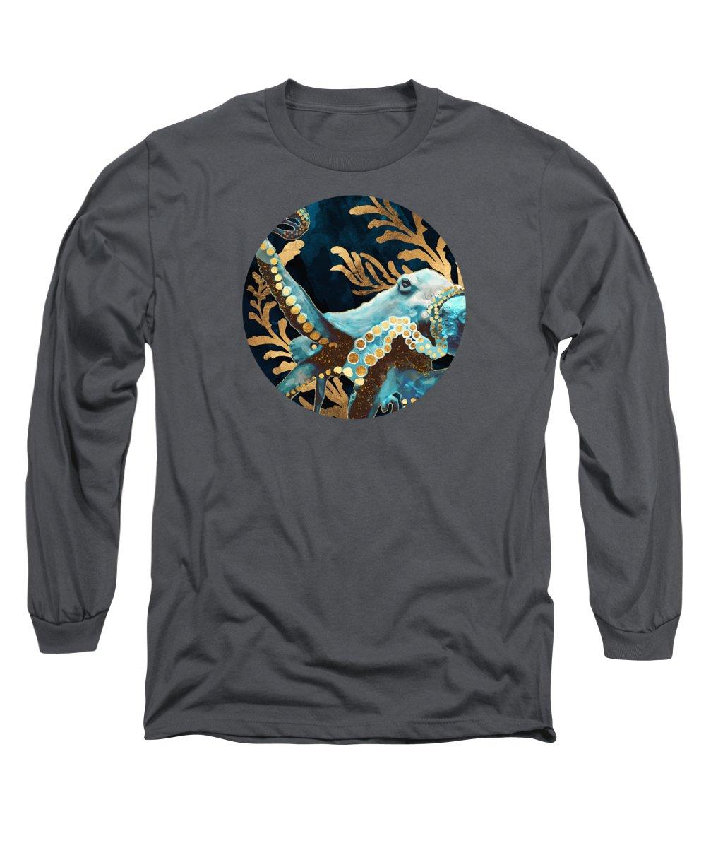 Digital Long Sleeve T-Shirt featuring the digital art Indigo Octopus by Spacefrog Designs