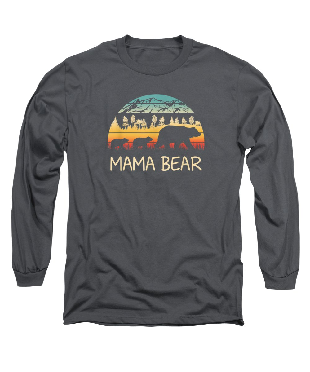 men's Novelty T-shirts Long Sleeve T-Shirt featuring the digital art Mama Bear With 2 Cubs Shirt Retro Mountains Mother's Day by Unique Tees
