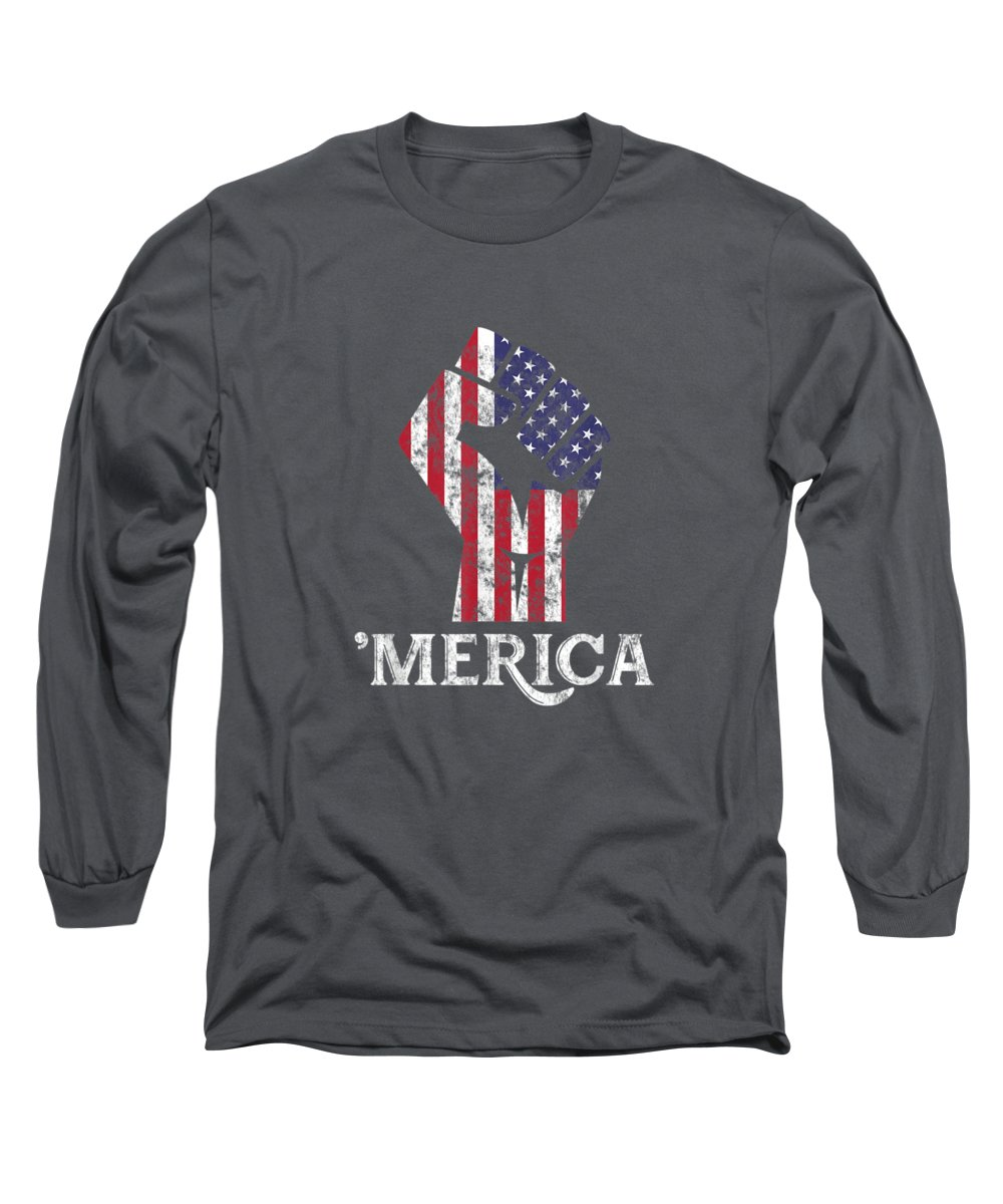 girls' Novelty T-shirts Long Sleeve T-Shirt featuring the digital art Merica American Flag Shirt- 4th July Independence Day Tshirt by Unique Tees